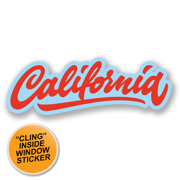 2 x California California WINDOW CLING STICKER Car Van Campervan Glass #4394
