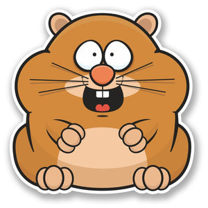 2 x Happy Hamster Vinyl Sticker #4395