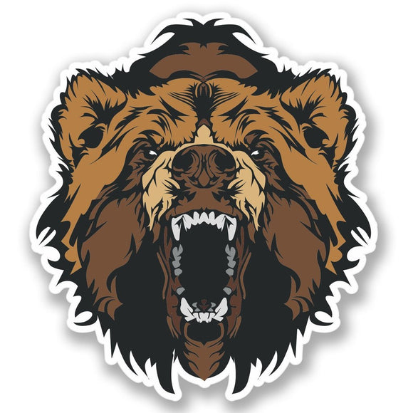 2 x Angry Brown Bear Vinyl Sticker #4398