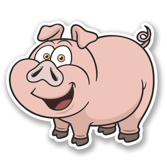2 x Happy Pig Vinyl Sticker #4445