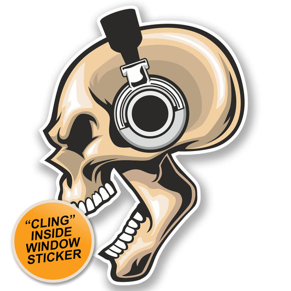 2 x Headphone's Skull WINDOW CLING STICKER Car Van Campervan Glass #4451