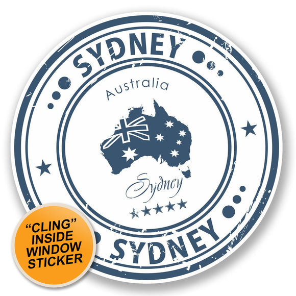 2 x Sydney Australia WINDOW CLING STICKER Car Van Campervan Glass #4571