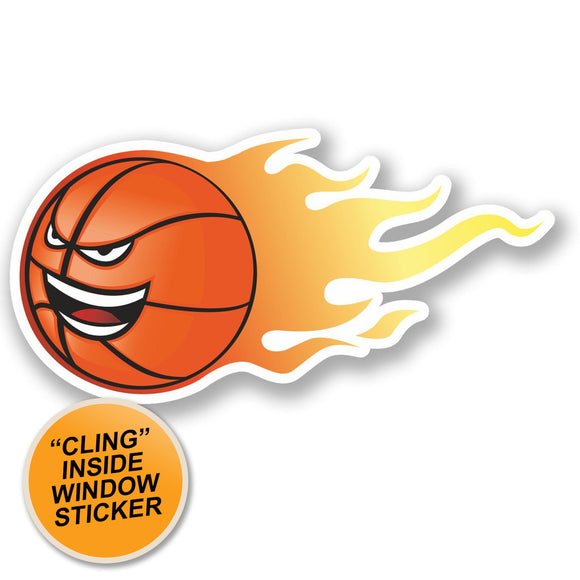 2 x Basketball WINDOW CLING STICKER Car Van Campervan Glass #4621