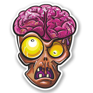 2 x Zombie Head Vinyl Sticker #4642