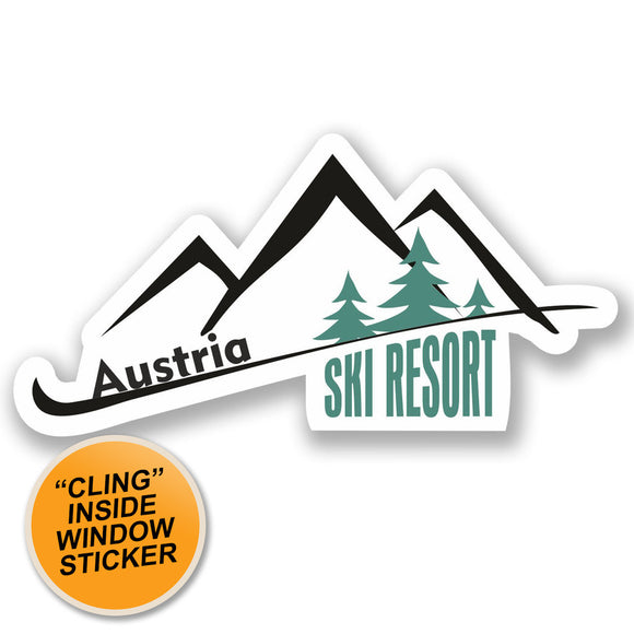 2 x Austria Ski Resort WINDOW CLING STICKER Car Van Campervan Glass #4660