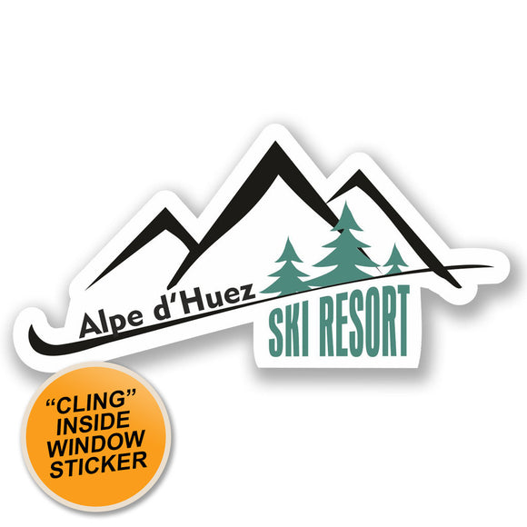 2 x Alpe d'Huez Ski Resort WINDOW CLING STICKER Car Van Campervan Glass #4661