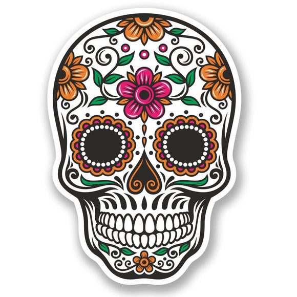 2 x Sugar Skull Luggage Travel Vinyl Sticker iPad Sign Fun #4675