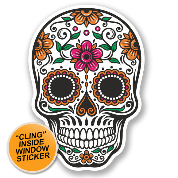 2 x Sugar Skull Luggage Travel WINDOW CLING STICKER Car Van Campervan Glass iPad Sign Fun #4675