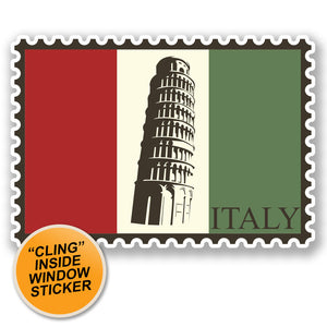 2 x Italy Luggage Travel WINDOW CLING STICKER Car Van Campervan Glass iPad Sign Fun #4689