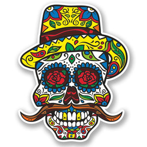 2 x Sugar Skull Vinyl Sticker #4735
