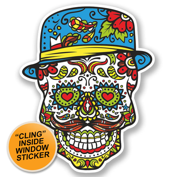 2 x Sugar Skull WINDOW CLING STICKER Car Van Campervan Glass #4736
