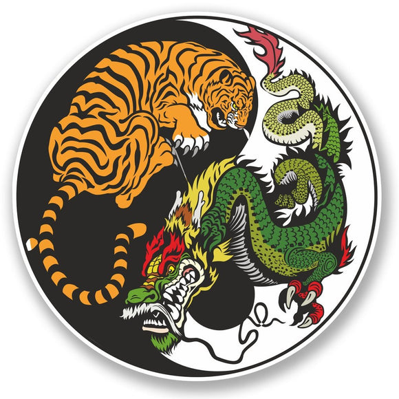 2 x Yin Yang Tiger Dragon Vinyl Sticker #4741