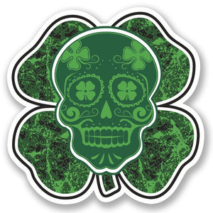2 x Irish Lucky Clover Sugar Skull Vinyl Sticker #4768