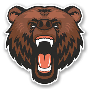 2 x Angry Brown Bear Vinyl Sticker #4783