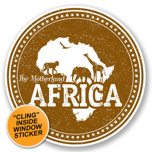 2 x Africa WINDOW CLING STICKER Car Van Campervan Glass #4799