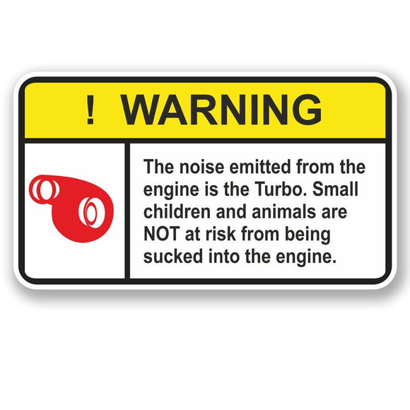 2 x Turbo Warning Vinyl Sticker #4946