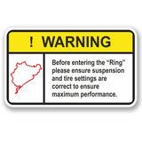 2 x Nurburgring Warning Vinyl Sticker #4948