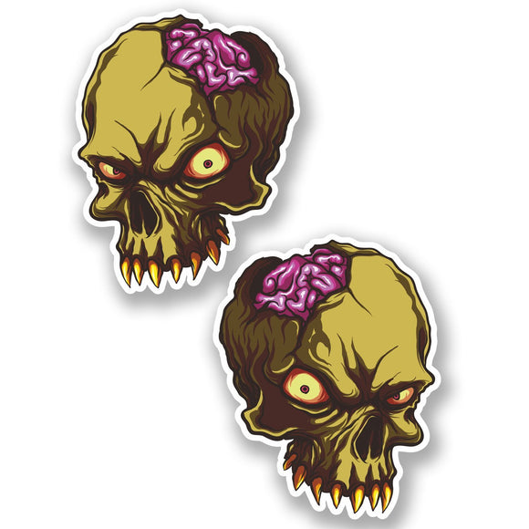 2 x Zombie Skull WINDOW CLING STICKER Car Van Campervan Glass #5019