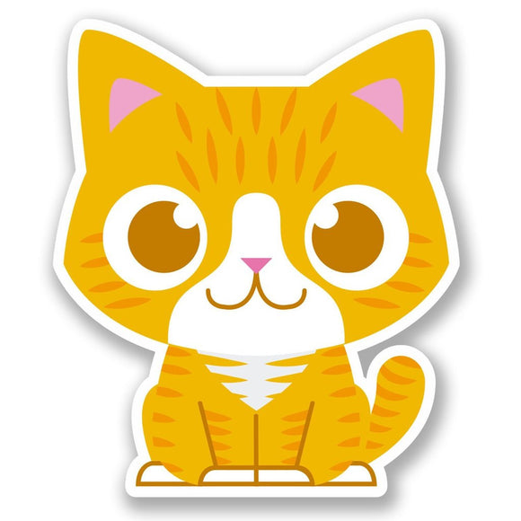 2 x Ginger Cat Vinyl Sticker #5031