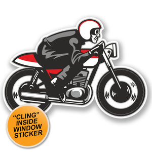 2 x Retro Biker WINDOW CLING STICKER Car Van Campervan Glass #5068