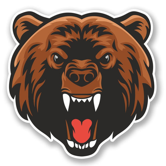 2 x Angry Brown Bear Vinyl Sticker #5071