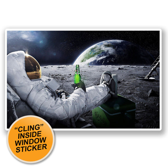 2 x Astronaut Space WINDOW CLING STICKER Car Van Campervan Glass #5082