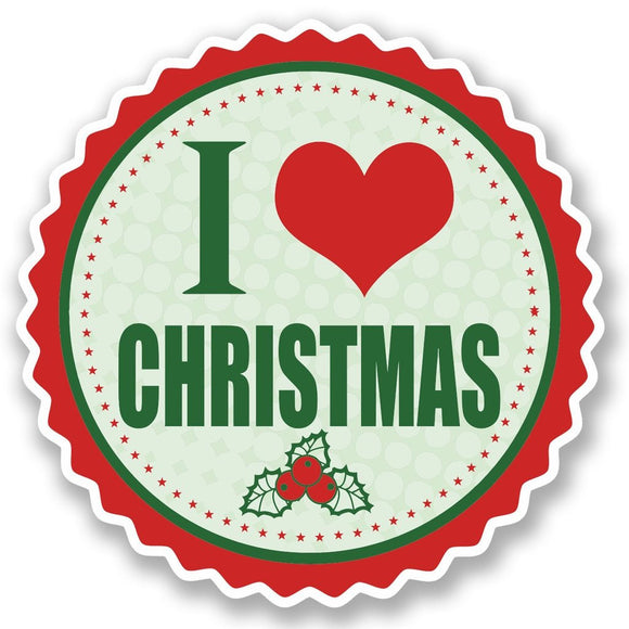 2 x I Love Christmas Vinyl Sticker #5109