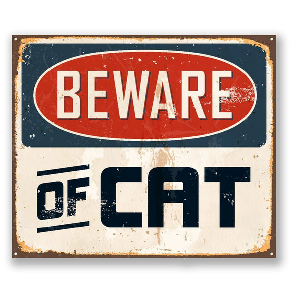 2 x Beware of Cat Vinyl Sticker #5111