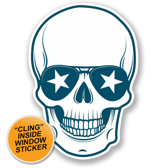 2 x Cool Skull WINDOW CLING STICKER Car Van Campervan Glass #5114