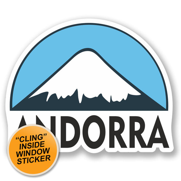 2 x Andorra Ski Snowboard WINDOW CLING STICKER Car Van Campervan Glass #5123