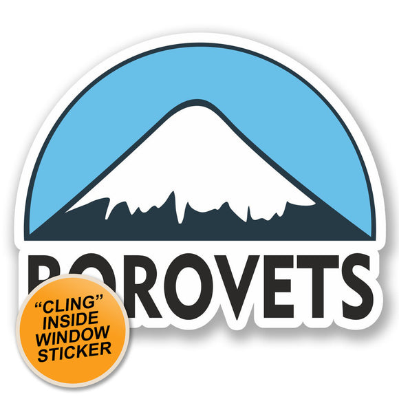 2 x Borovets Ski Snowboard WINDOW CLING STICKER Car Van Campervan Glass #5126