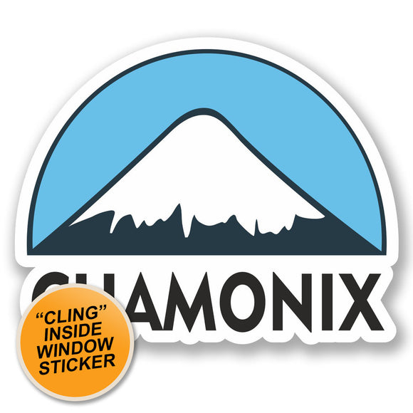 2 x Chamonix Ski Snowboard WINDOW CLING STICKER Car Van Campervan Glass #5130