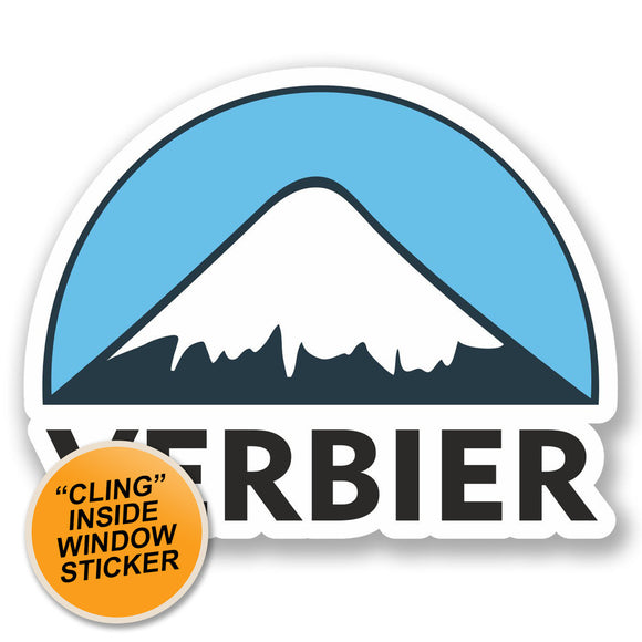 2 x Verbier Ski Snowboard WINDOW CLING STICKER Car Van Campervan Glass #5147