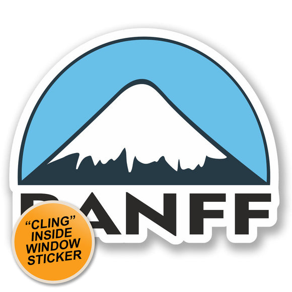 2 x Banff Ski Snowboard WINDOW CLING STICKER Car Van Campervan Glass #5149