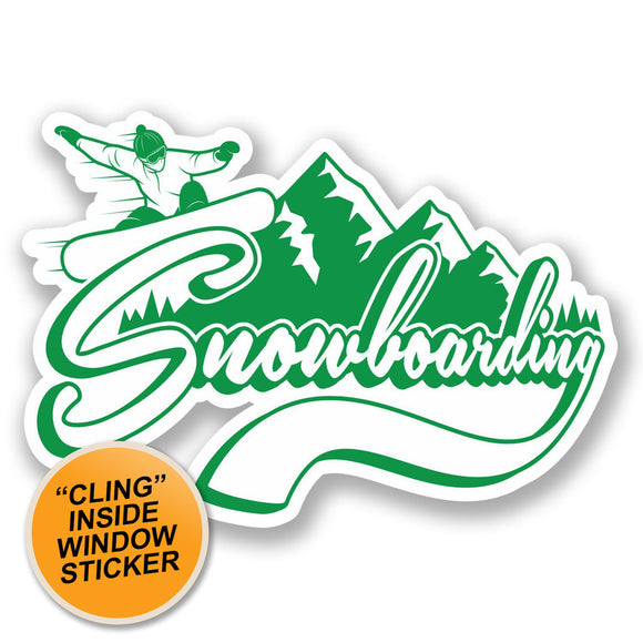 2 x Snowboarding WINDOW CLING STICKER Car Van Campervan Glass #5200