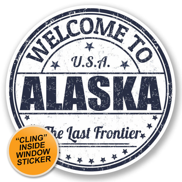 2 x Alaska USA WINDOW CLING STICKER Car Van Campervan Glass #5220