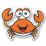 2 x Happy Crab Vinyl Sticker #5230