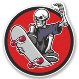 2 x Skater Skeleton Vinyl Sticker #5233