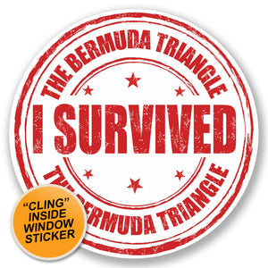 2 x Bermuda Triangle WINDOW CLING STICKER Car Van Campervan Glass #5234
