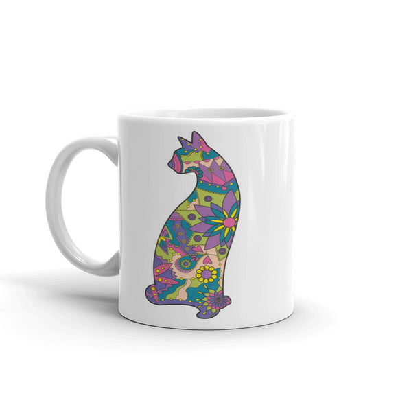 Pretty Flowery Cat High Quality 10oz Coffee Tea Mug #5246