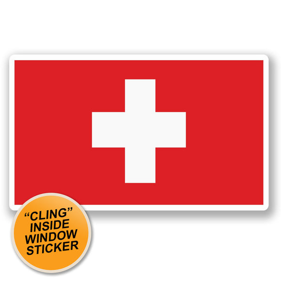 2 x Switzerland Flag WINDOW CLING STICKER Car Van Campervan Glass #5288