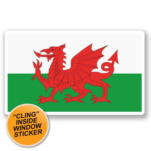 2 x Wales Welsh Flag WINDOW CLING STICKER Car Van Campervan Glass #5315