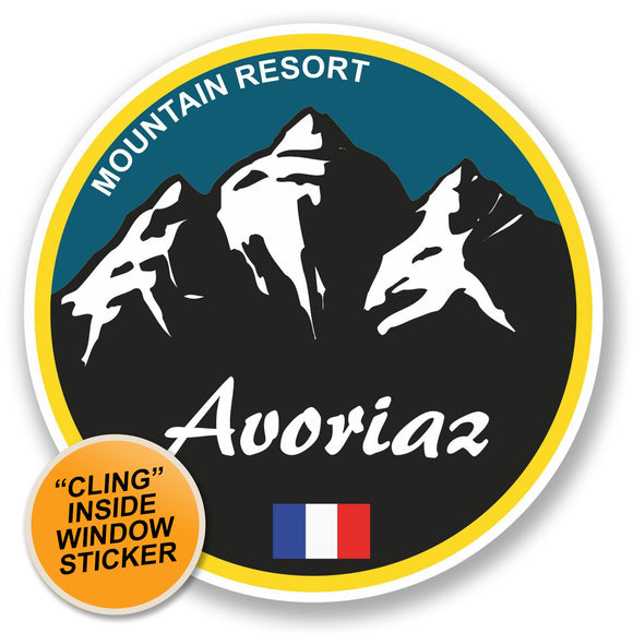 2 x Avoriaz Ski Snowboard WINDOW CLING STICKER Car Van Campervan Glass #5318