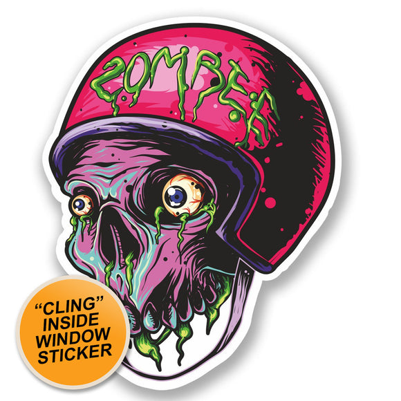2 x Zombie WINDOW CLING STICKER Car Van Campervan Glass #5332