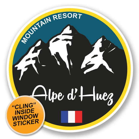 2 x Alpe d'Huez Ski Snowboard WINDOW CLING STICKER Car Van Campervan Glass #5333