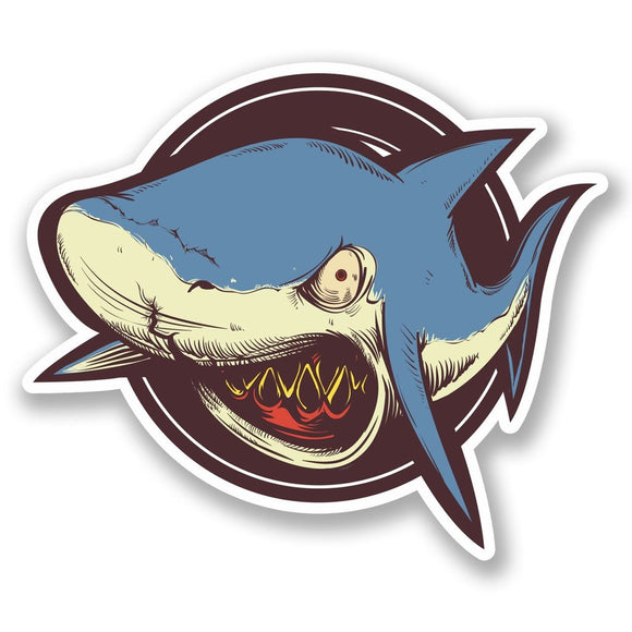2 x Angry Shark Vinyl Sticker #5343