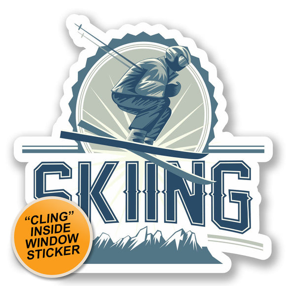 2 x Skiing WINDOW CLING STICKER Car Van Campervan Glass #5524