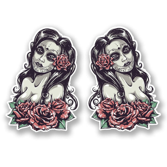 2 x Sugar Skull Vinyl Sticker #5526