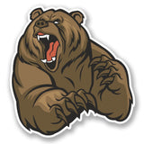 2 x Angry Brown Bear Vinyl Sticker #5552