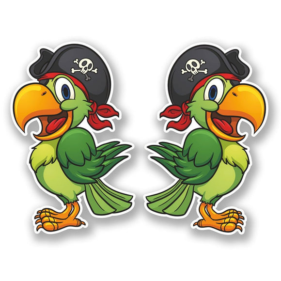 2 x Pirate Parrot Vinyl Sticker #5586